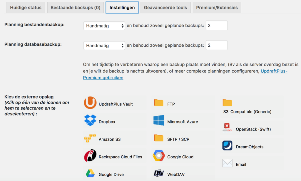 Maak een back-up van WordPress via Updraft Plus.