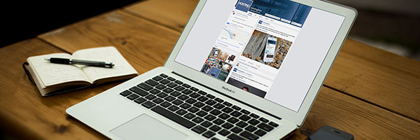 Hosting2GO Facebook pagina op laptop