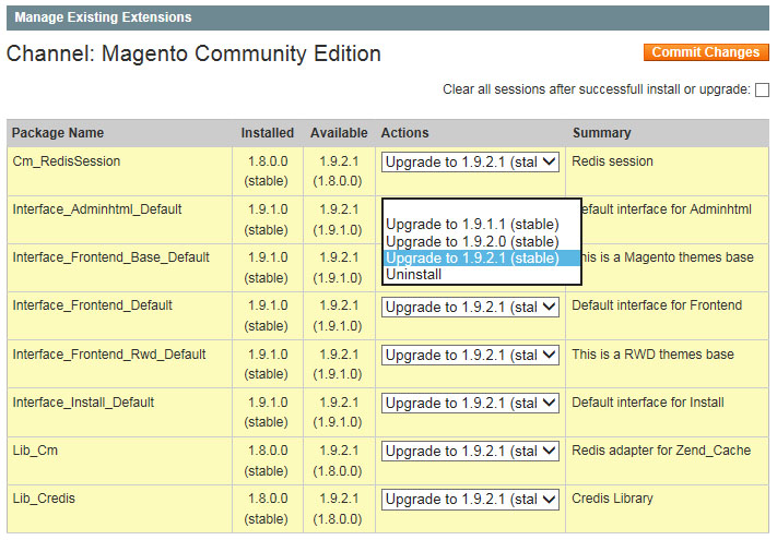 Update Magento via 'Existing Extensions' binnen de Connect Manager.