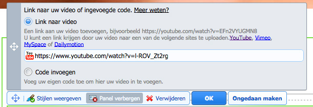 Video toevoegen via link of code